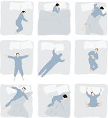 Various poses of man sleeping on bed