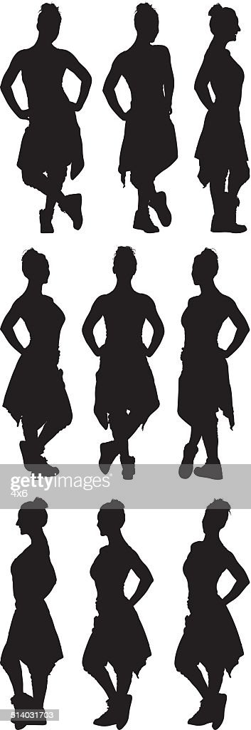 Various poses of woman in sports clothing : stock illustration