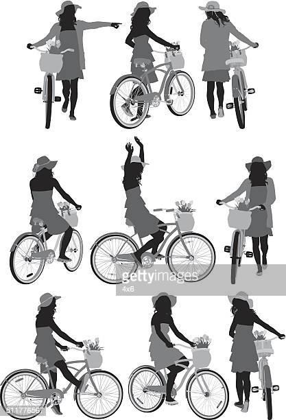 verschiedenen posen für radfahrer - vorderansicht stock-grafiken, -clipart, -cartoons und -symbole