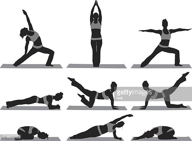 Various poses of yoga trainer