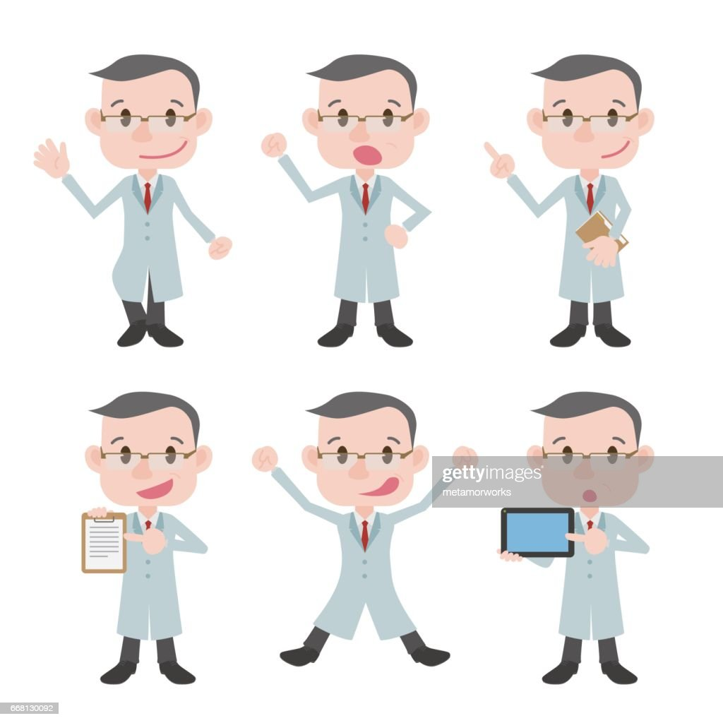 various posing character clip art set, doctor or professor wearing white coat, vector illustration