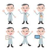 various posing character clip art set, doctor or professor wearing white coat, vector illustration
