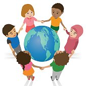 various race children join hands around the earth, international exchange