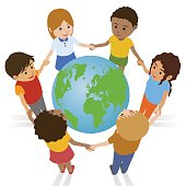 various race children join hands around the earth, international exchange