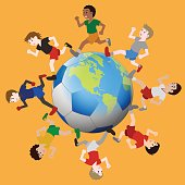 various races children running around the earth and soccer ball, vector illustration