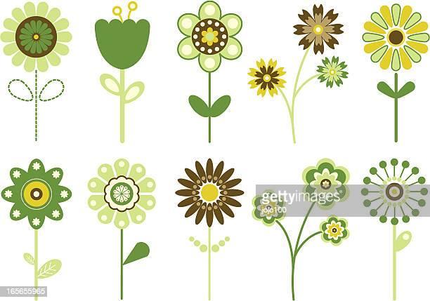 Various Retro Flower Designs