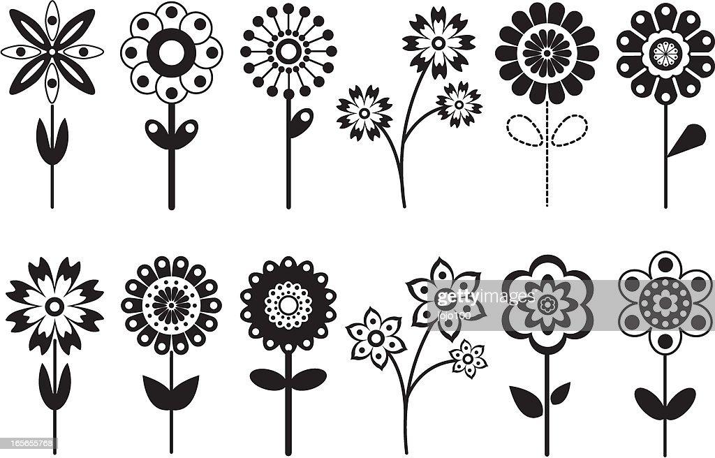 Various Retro Flower Icons
