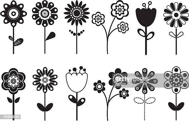Verschiedenen Retro Blume Symbole.