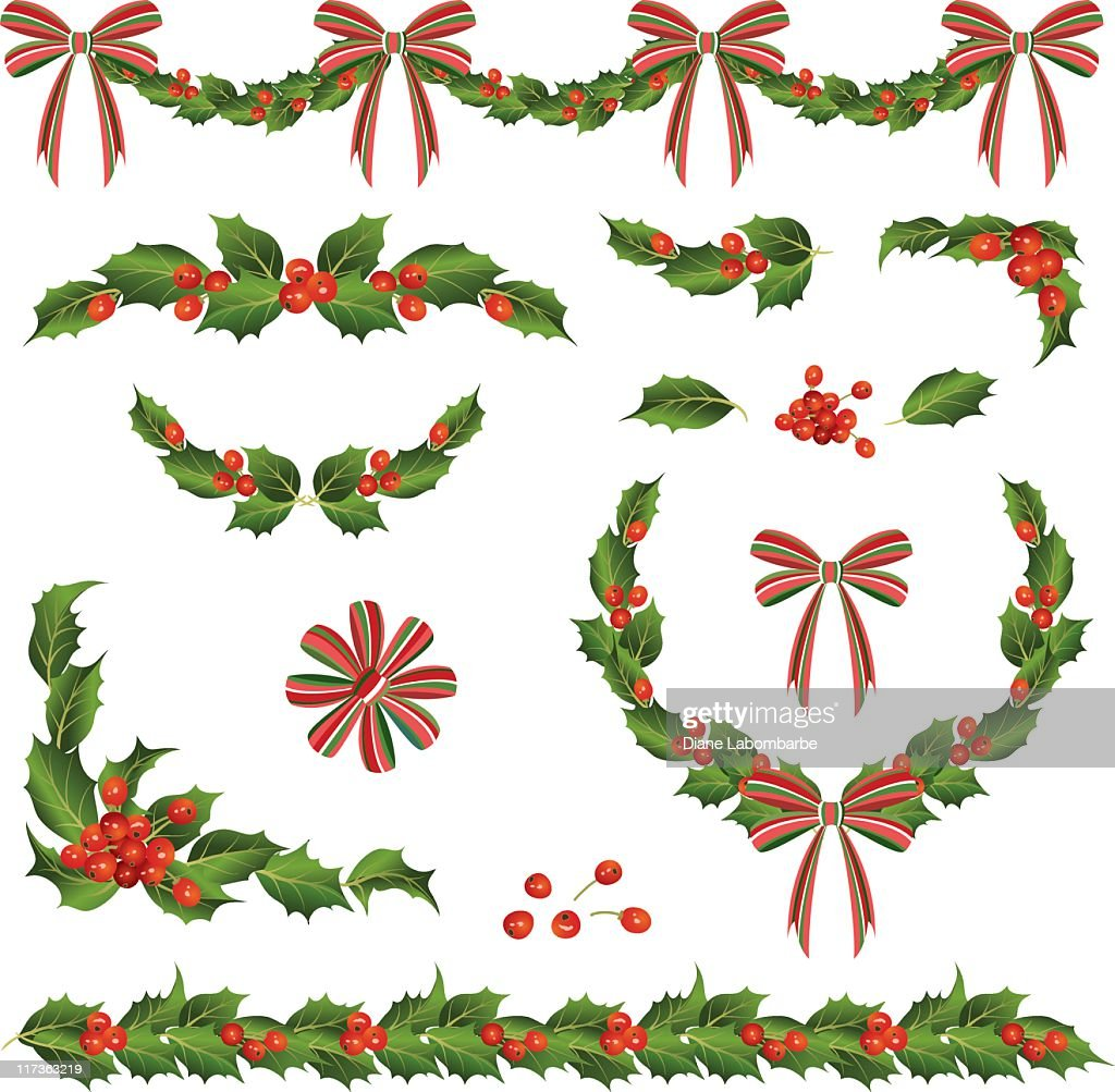 Various Retro Holly and Ribbons Swag,Corner Elements : stock illustration