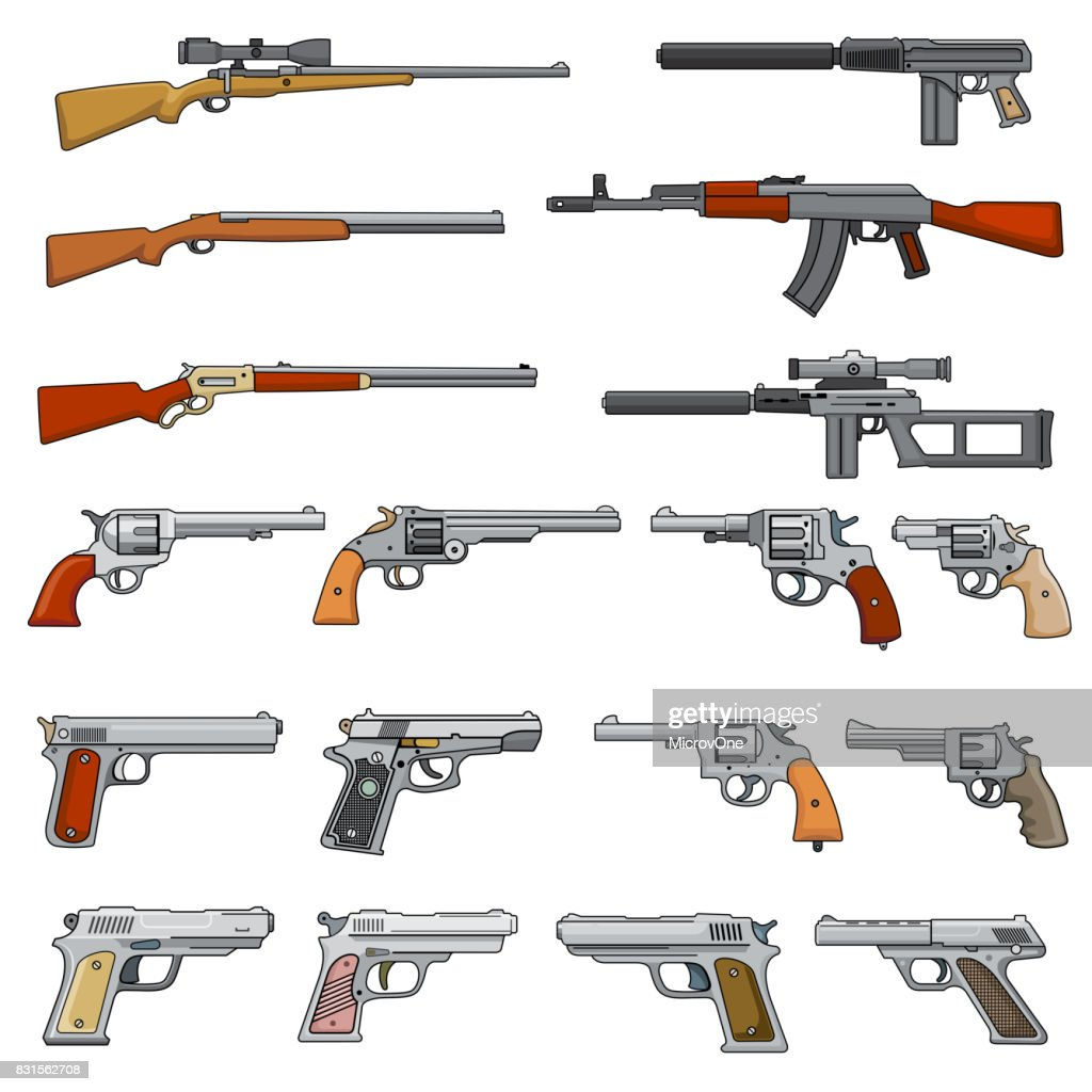Various rifle, guns and pistols cartoon vector weapons icons