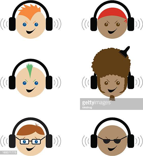 various rockers with headphones - vector - mohawk stock illustrations