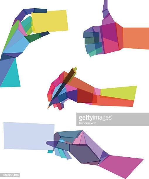 Various sample of colorful polygonal hands