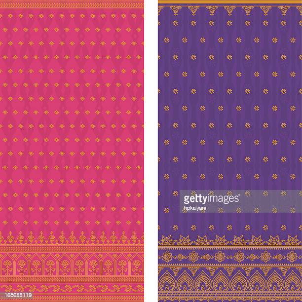 various sample of silk saris in pink and violet - sari stock illustrations