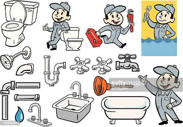 various set of plumber, plumbing and pipes illustrations - plunger stock illustrations, clip art, cartoons, & icons
