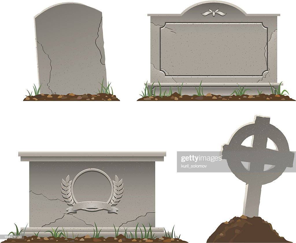 Various shapes and sizes of tombstones