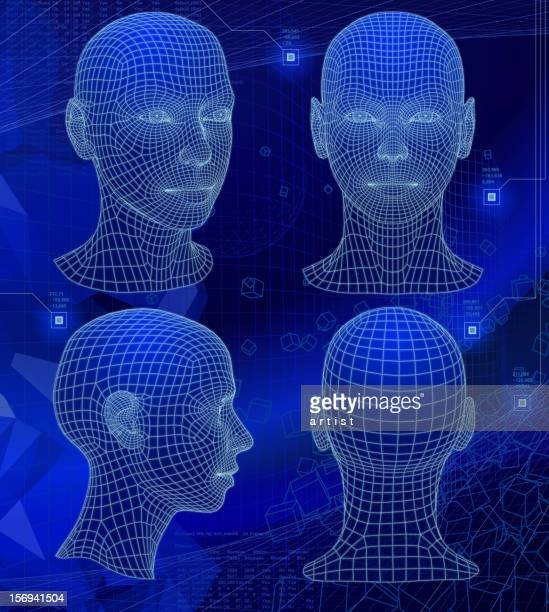 Various sides of a 3D head on abstract blue background