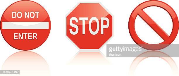 illustrations, cliparts, dessins animés et icônes de panneau stop - panneau sens interdit