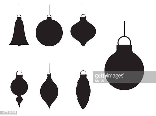 various silhouette christmas baubles - shape stock illustrations