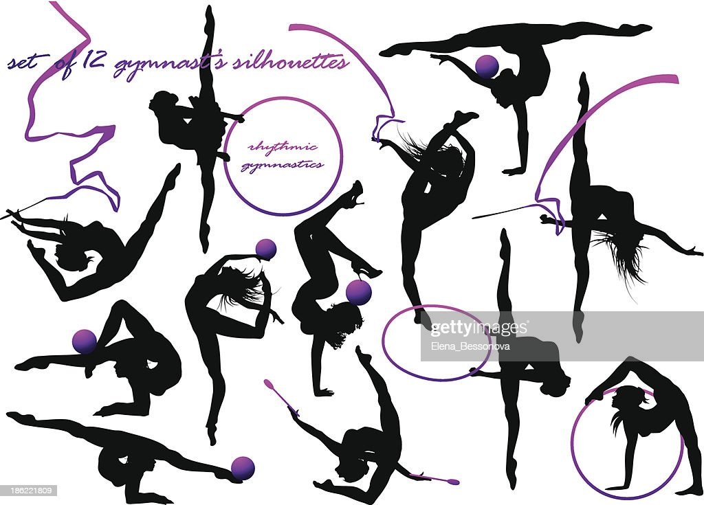 Various silhouette of a gymnasts