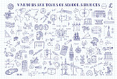 Various sketches on school subjects. Hand sketches on the theme of Maths and geometry.   Note book page paper. Vector illustration. Doodle set.