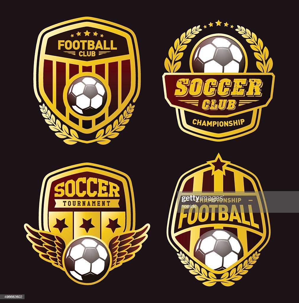 Various Soccer Ball and Football Emblems