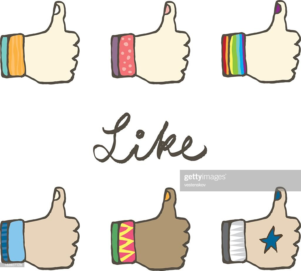 Various social media like icon in different personalities
