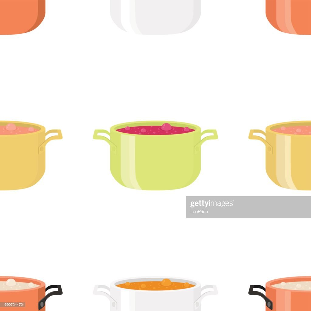 Various soups in bowls, dishes. Seamless pattern. Cartoon flat style