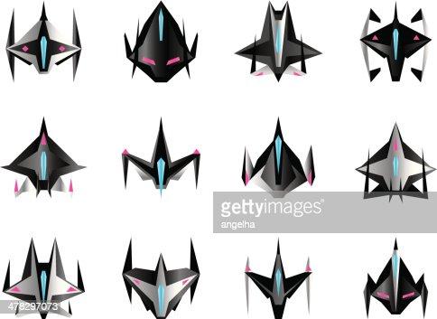 various spaceships in flight vector art | thinkstock