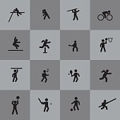 Various sport and athletics vector icons set, isolated on grey background