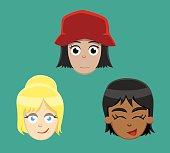 Various Teenage Female Faces Vector Illustration