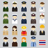 Various Thai People and Officer Character Icons Set