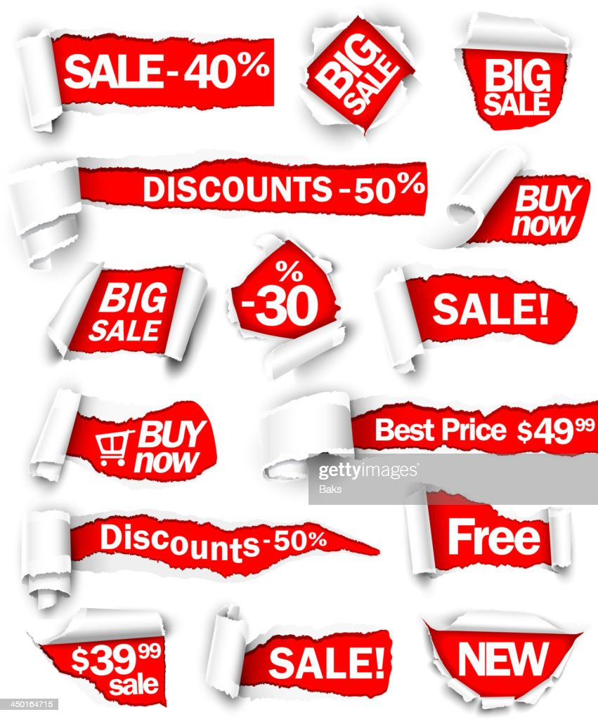 Various torn red discount signs on white background