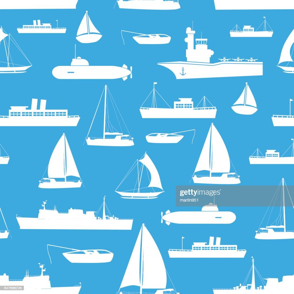 various transportation navy ships icons seamless blue pattern eps10