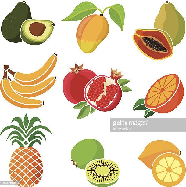 various tropical fruits - mango fruit stock illustrations, clip art, cartoons, & icons