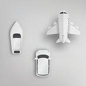 Various type of transportation paper art