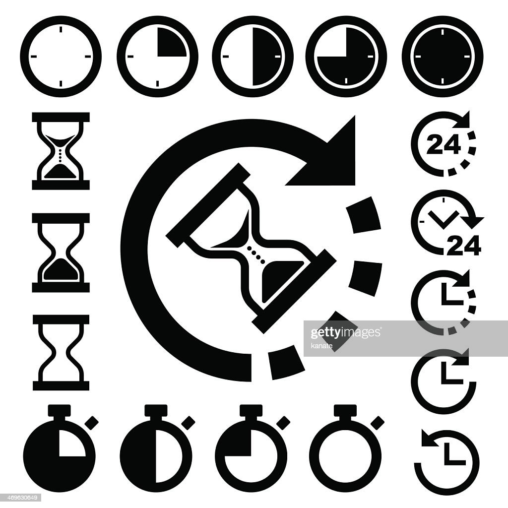 Various types of clocks and time icon set