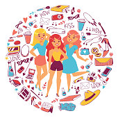 Various types of clothes and accessories for girls vetor illustration. Cartoon female characters with woman stuff. Cosmetics, toiletry, bags, shoes, glasses, gadgets, magazines.