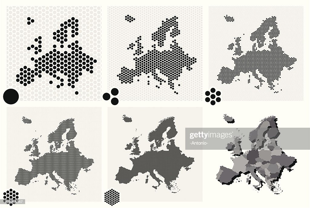 Various types of dotted maps of Europe resolutions