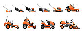 Various types of lawn mowers isolated on white background.