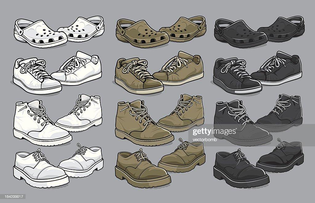 Various vector men's shoes