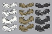 Various vector men's shoes