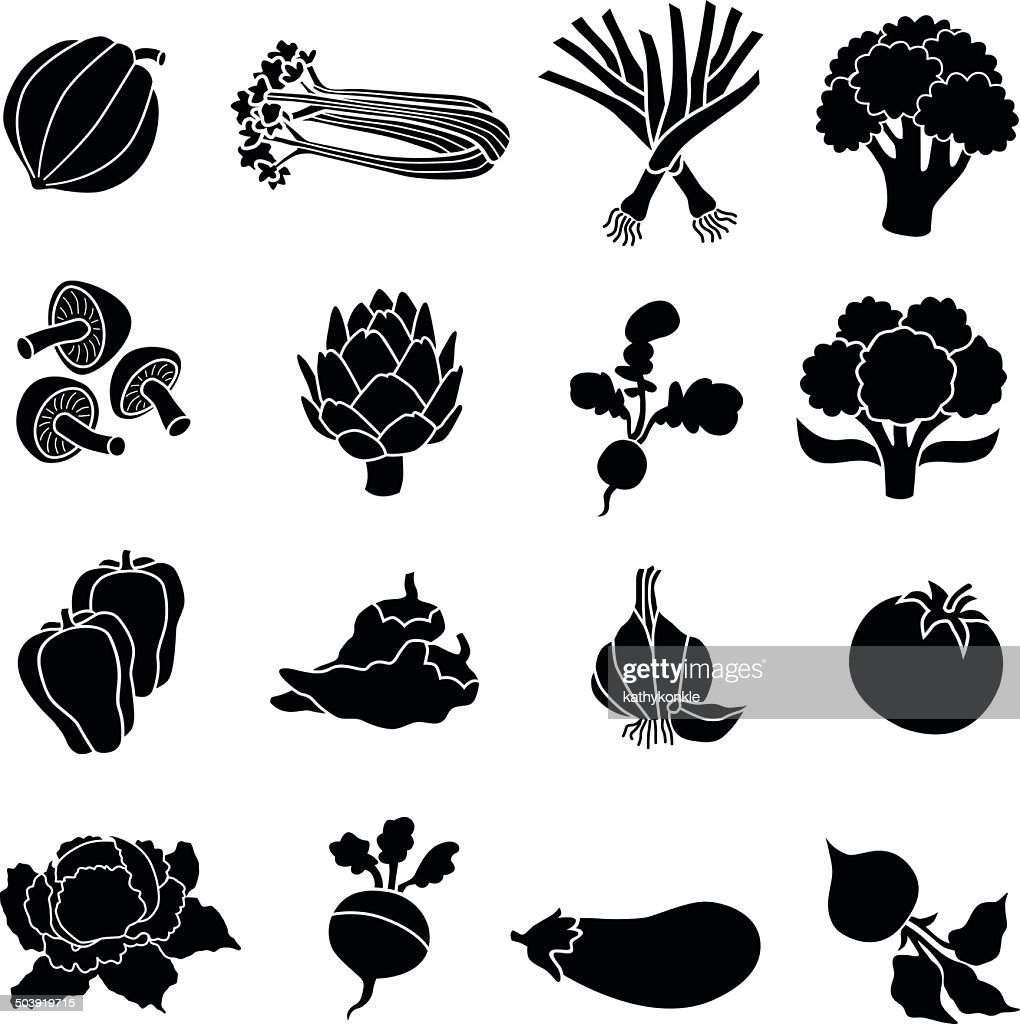 various vegetables in black and white