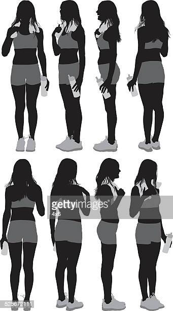 Various views of exercise woman