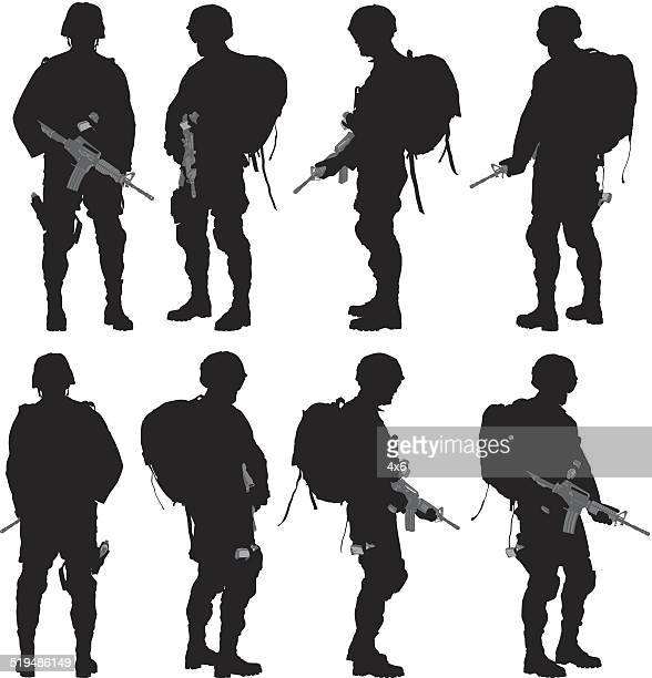 various views of soldier - army soldier stock illustrations
