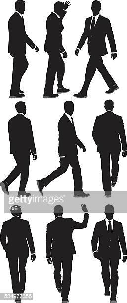 Various views of walking businessmen