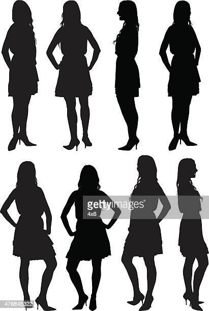 various views of woman - full length stock illustrations, clip art, cartoons, & icons