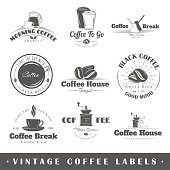 Various vintage coffee icons in black and white