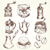 Various vintage outlines of coffee makers
