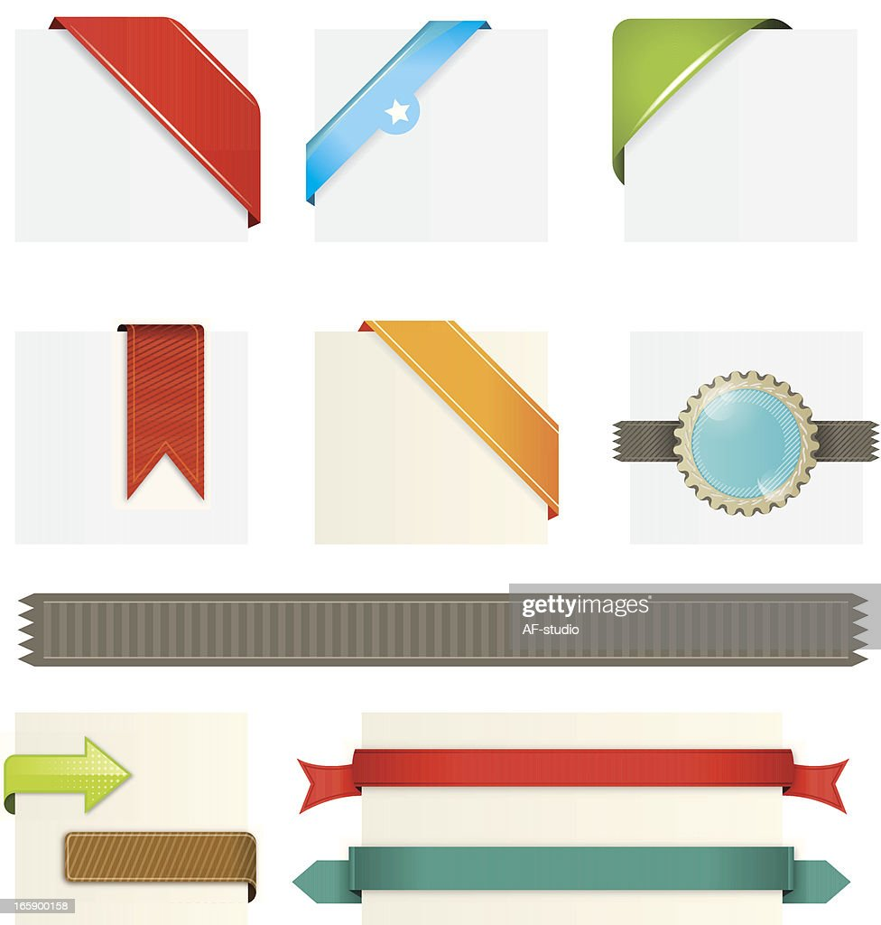 Various web elements including ribbons and banners : stock illustration