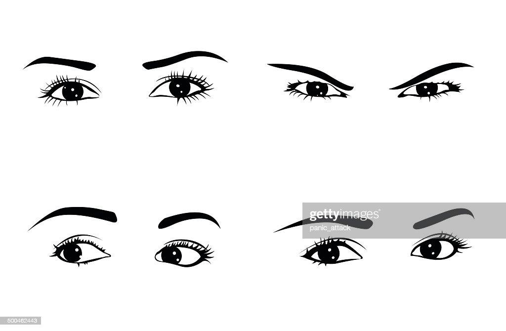 Various woman eyes set